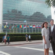 Birgit and Dieter Häusler in front of the main UN building in New York, May 2013