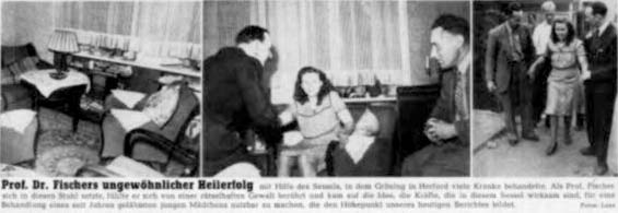 Prof. Dr. Fischer's unusual healing success by means of the arm chair, in which Gröning healed numerous sick people in Herford.